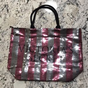 Victoria's Secret Sequined Tote Pink and Silver